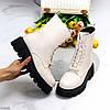 """Зимние светлые бежевые женские ботинки """"мартинсы"""" на молнии на шнуровке, фото 9"""