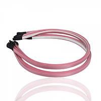 Обруч металлический с атласной лентой розового цвета