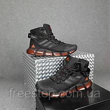 Чоловічі зимові кросівки в стилі Adidas Terrex vento чорні з помаранчевим