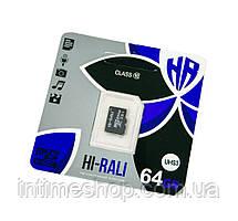 Карта пам'яті для фотоапарата HI-RALI 64 GB class 10, micro sd карта пам'яті для телефону