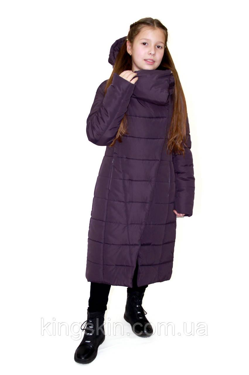 Дитяча жіноча зимова куртка ORIGA Комільфо р 36 зріст 146 Амарантовій