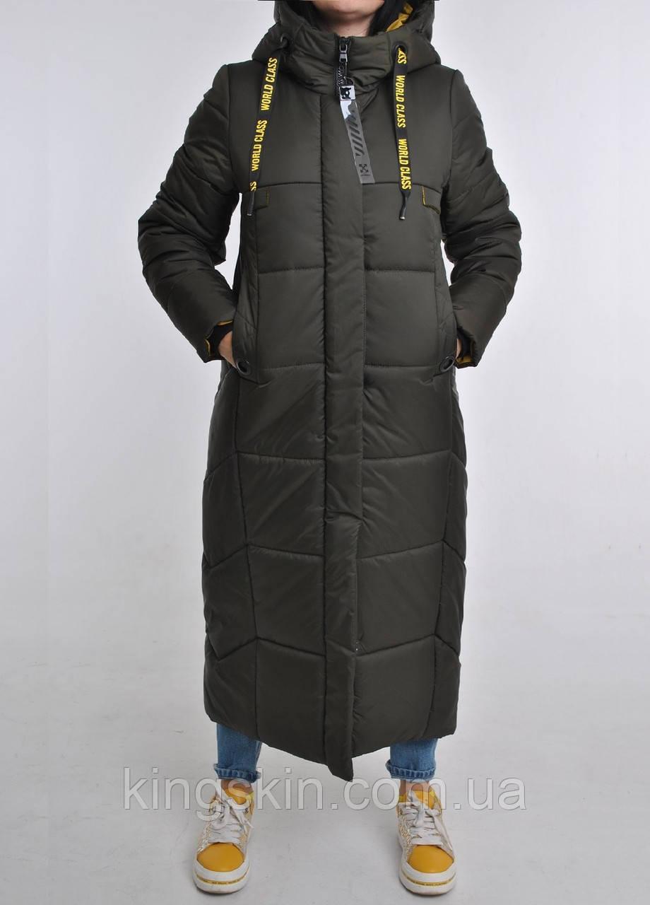 Зимова максі-куртка з капюшоном Fashion Club в кольорі хакі р. 54