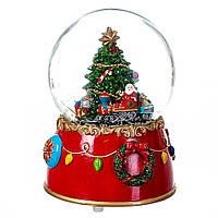 Новорічний музичний куля зі снігом d-10 см