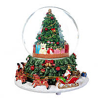 Новорічний музичний куля зі снігом і автометелью 16*17 см