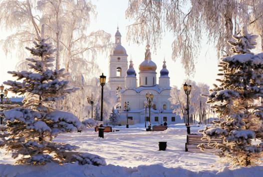 Алмазна мозаїка Церква в снігу 30*40 см без рамки 40 * 8 * 5 см (H8272)
