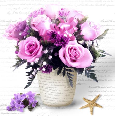 Алмазная мозаика Вазочка с розами 30*40см без рамки 40*8*5см (H8109)