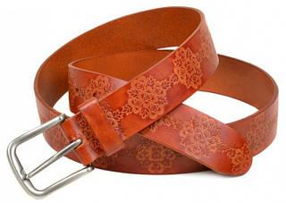 Красивый женский кожаный ремень H-25-2 red светло коричневый