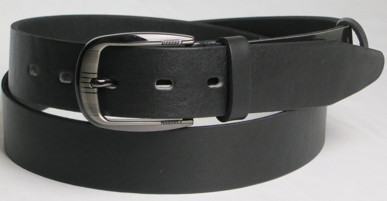 Брючный мужской кожаный ремень 2979-1 чёрный ДхШ: 115х3,5 см.