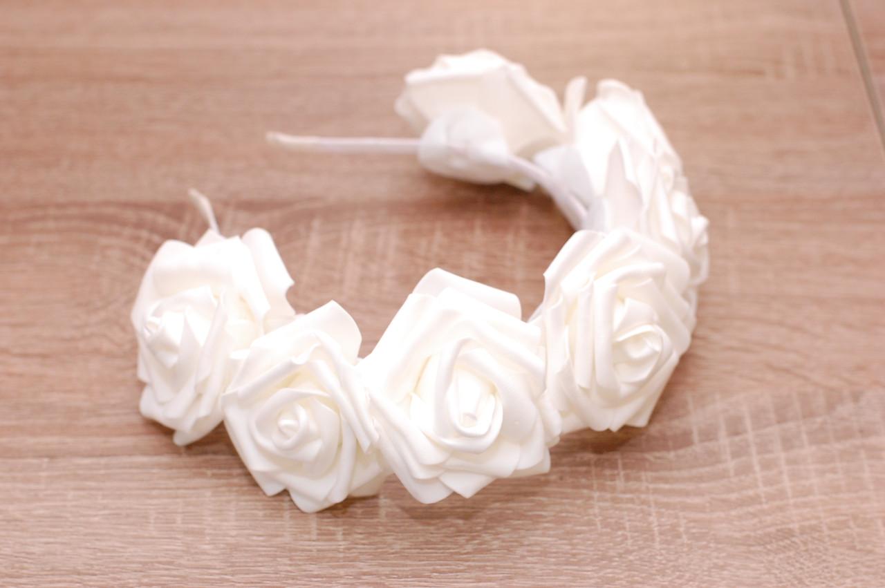 Обруч для волос опт / ободок на голову / украшение для волос  большие Белые цветы  розы