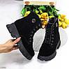 Повседневные черные замшевые женские зимние ботинки молния + шнуровка, фото 10