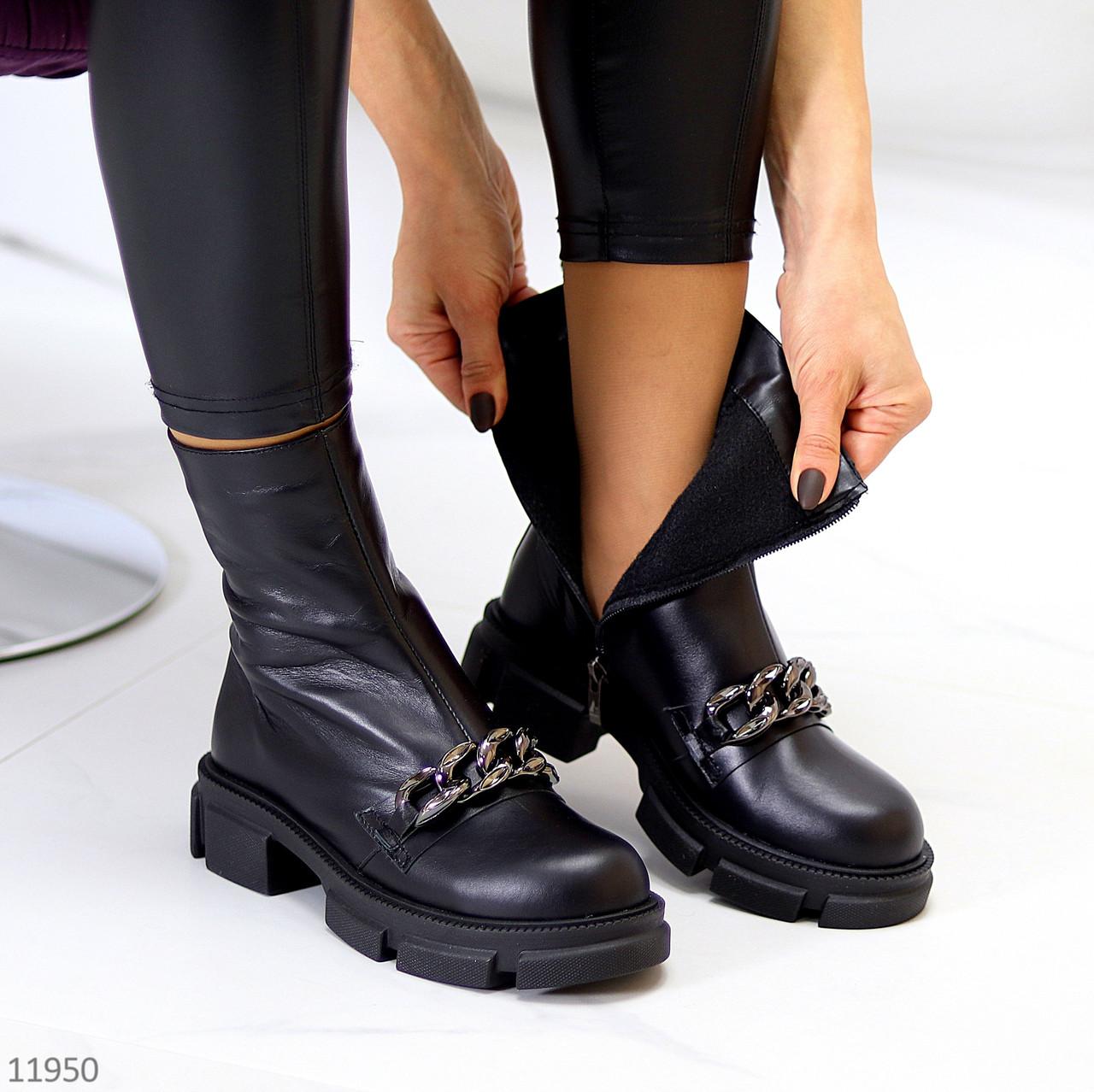 Ультра модні шкіряні чорні високі жіночі чоботи натуральна шкіра