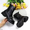 Ультра модні шкіряні чорні високі жіночі чоботи натуральна шкіра, фото 2