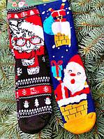Новорічні шкарпетки теплі з котом і дідом морозом для всієї родини М4 (2 пари в упаковці, розмір 36-45)