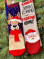 Новорічні шкарпетки теплі високі преміум якості з малюнком для подарунків М5 (2 пари в упаковці, розмір 36-45)