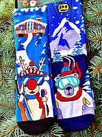 Новорічні шкарпетки теплі жіночі з ведмедиками подарункові М7 (2 пари в упаковці, розмір 36-45)