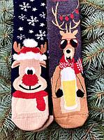 Новорічні шкарпетки теплі високі з оленями для подарунків М8 (2 пари в упаковці, розмір 36-45)