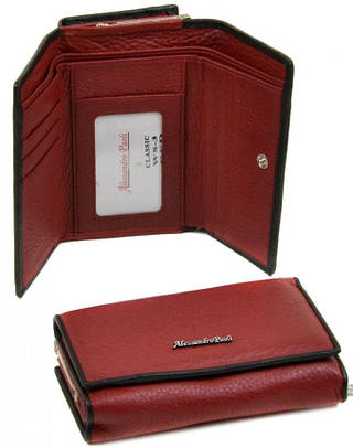 Компактный женский кожаный кошелек  Alessandro Paoli WS-3 red красный