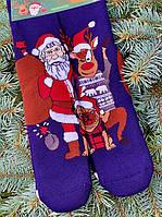Новорічні шкарпетки жіночі прикольні з дідом морозом теплі М13 (2 пари в упаковці, розмір 36-45)