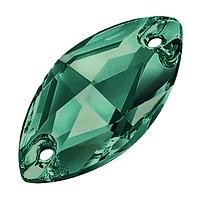 Лодочки пришивные хрустальные Preciosa (Чехия) 18x9 мм Emerald