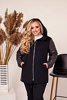 """Куртка женская плащевка +  кашемир размеры: 48-62 """"VIKA"""" недорого от прямого поставщика"""