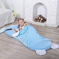 Детский спальный мешок трансформер Зайчик голубой. Детский спальник, слипик детский, детское одеяло
