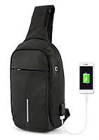 Рюкзак Bobby однолямочный через плечо с USB зарядным и портом для наушников черный (13928) ON
