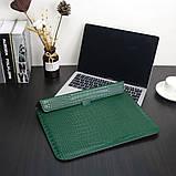 "Чохол-конверт для MacBook 15.4"" /16"" Fashion Case Крокодил Leather Dark green, фото 3"