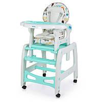 Детский Стульчик-трансформер для кормления: 3 положения спинки, качалка, столик, колеса - Bambi Animal Mint