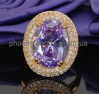 Богатое кольцо с фианитами, покрытые золотом (120731)