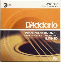 Струны D'Addario EJ15-3D Phosphor Bronze 10-47 3 sets, фото 1