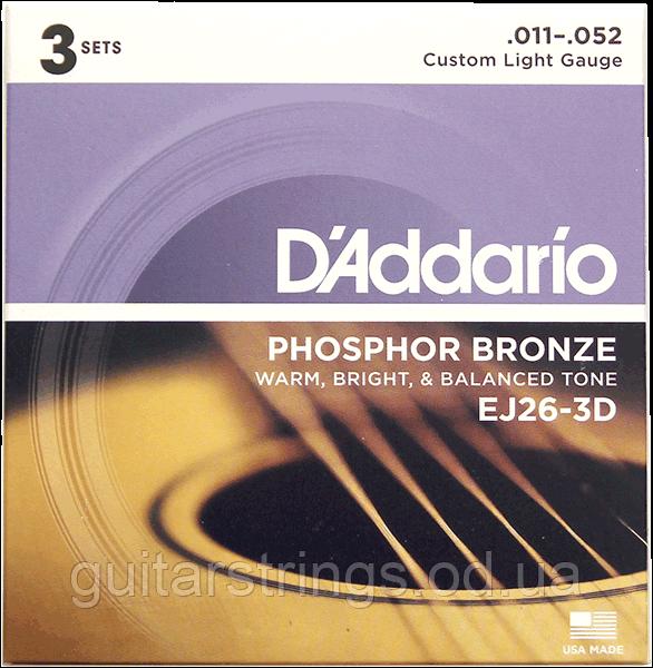 Струны D'Addario EJ26-3D Phosphor Bronze 11-52 3 sets