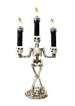 Подсвечник с черепами тройной с подсветкой для праздника 37см