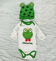 Комплект для новорожденного Лягушка, бодик, ползунки, шапочка, 3 месяца