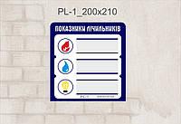 Табличка Показатели счетчика_pL-1