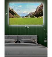 Картина с подсветкой 29х45 см Альпийский луг,Горный водопад,Весенний подснежник,Фрукты в корзине,Вид на Париж  Альпийский луг