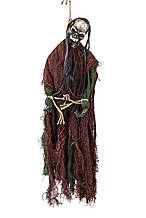 Декор анимированный на Хэллоуин повешенный каторжник 55*15 см черный коричневый