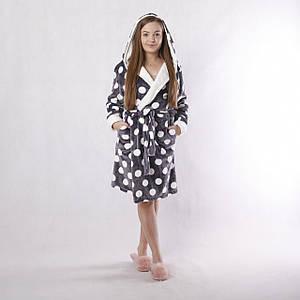 """Жіночий махровий халат з подвійним капюшоном + чобітки """"Горох"""" р. 42-50"""