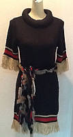 Платье трикотаж Chanel черное с бахромой короткий рукав