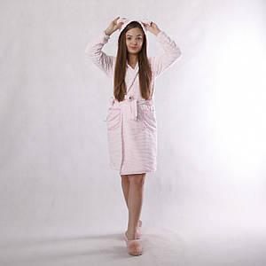 "Дитячий теплий махровий халат на запах ""Шиншила-Pink"" з вушками (вельсофт) 34-42р"