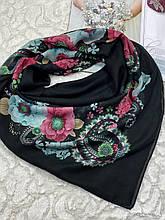 Женский хлопковый платок на голову черный с цветами 100х95 см (цв.3)