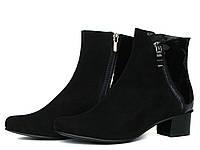 Черные замшевые ботинки с лаком и косой молнией