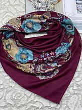 Женский хлопковый платок на голову цвет марсала 100х95 см (цв.4)