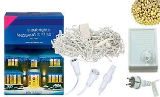 Новорічна гірлянда Бахрома 300 LED, Білий теплий світ 14 м