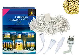 Новорічна гірлянда Бахрома 300 LED, Білий теплий світ 14 м + Нічний датчик