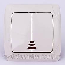 Выключатель двухклавишный VI-KO Carmen с подсветкой скрытой установки (кремовый)