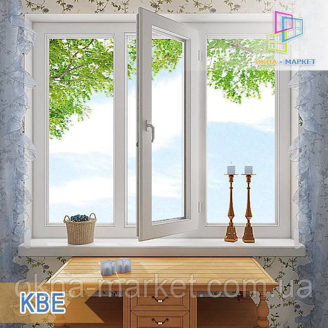 """Пластиковое трехстворчатое окно КВЕ 58 Eco. 1800x1400 """"Окна Маркет"""""""