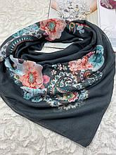 Женский хлопковый платок на голову серый с цветами 100х95 см (цв.2)