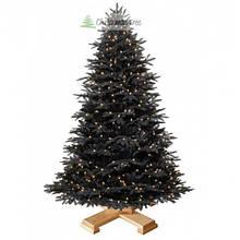 """Елка """"Черная"""" на деревянной подставке 220 + гирлянда в подарок"""