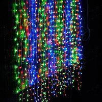 Гірлянда штора 3x3 м 300 LED жовтий, зелений, синій, червоний