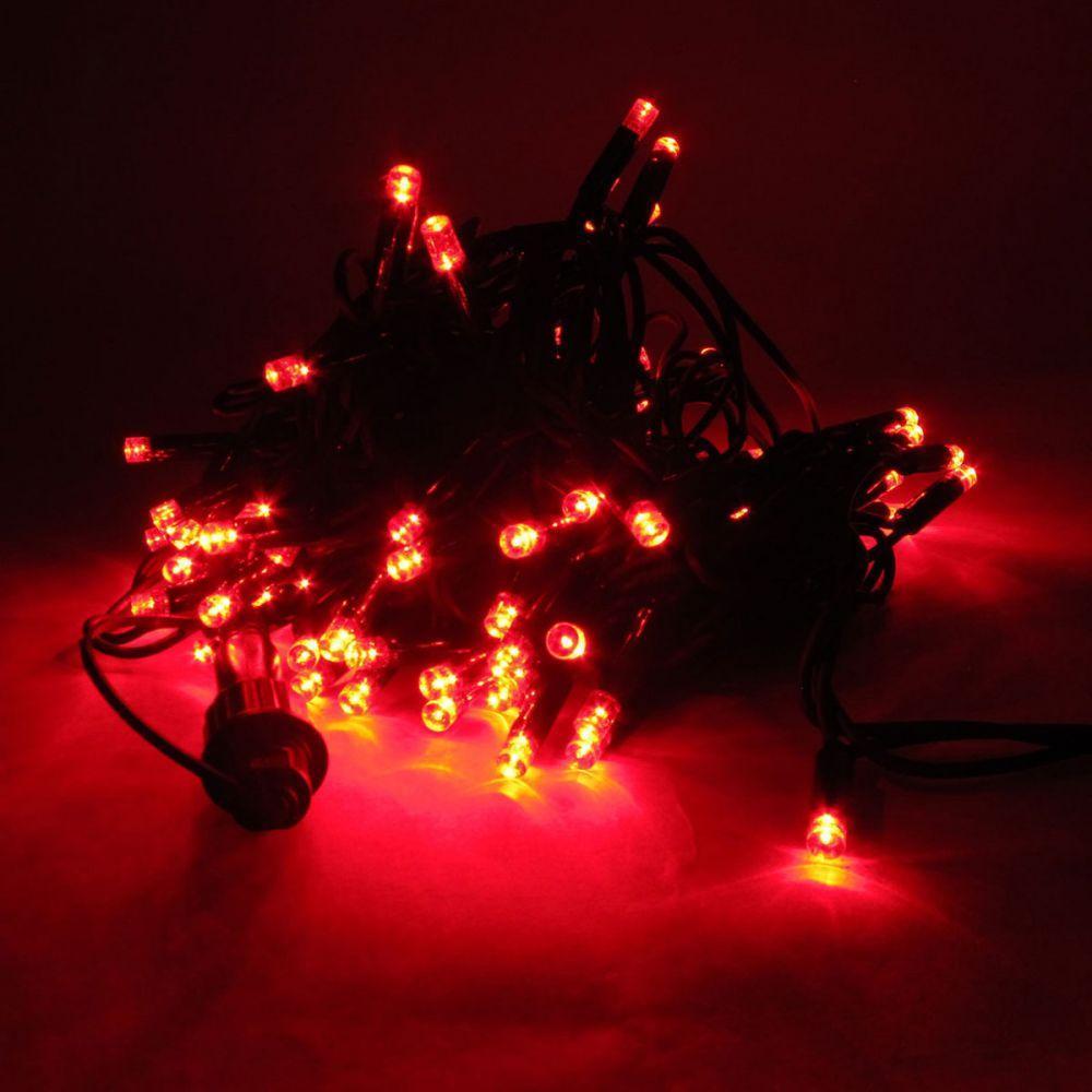 Гирлянда светодиодная уличная 100 LED, 10м (RD-07127) (Провод-черный,цвет-красный)